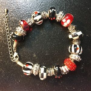 "Jewelry - 8"" - Black and Red race day bracelet!"